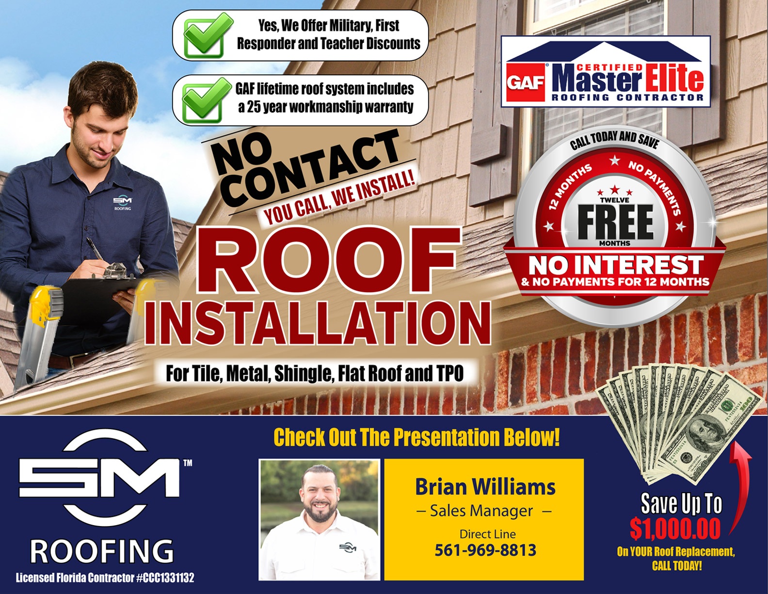 On behalf of SCM Roofing, Brian Williams welcomes you to our online presentation page. Below is a video which will walk you through each of the important aspects of our roofing process. Thank you for visiting, let's scroll down the page and begin.