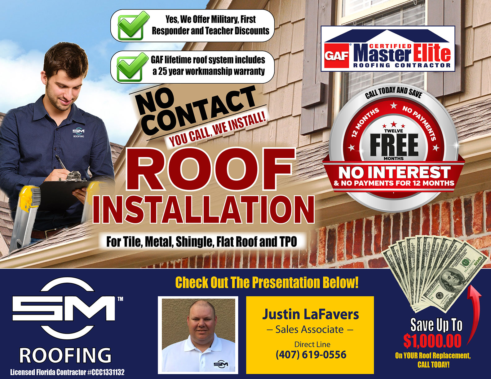 On behalf of SCM Roofing, Justin LaFavers welcomes you to our online presentation page. Below is a video which will walk you through each of the important aspects of our roofing process. Thank you for visiting, let's scroll down the page and begin.