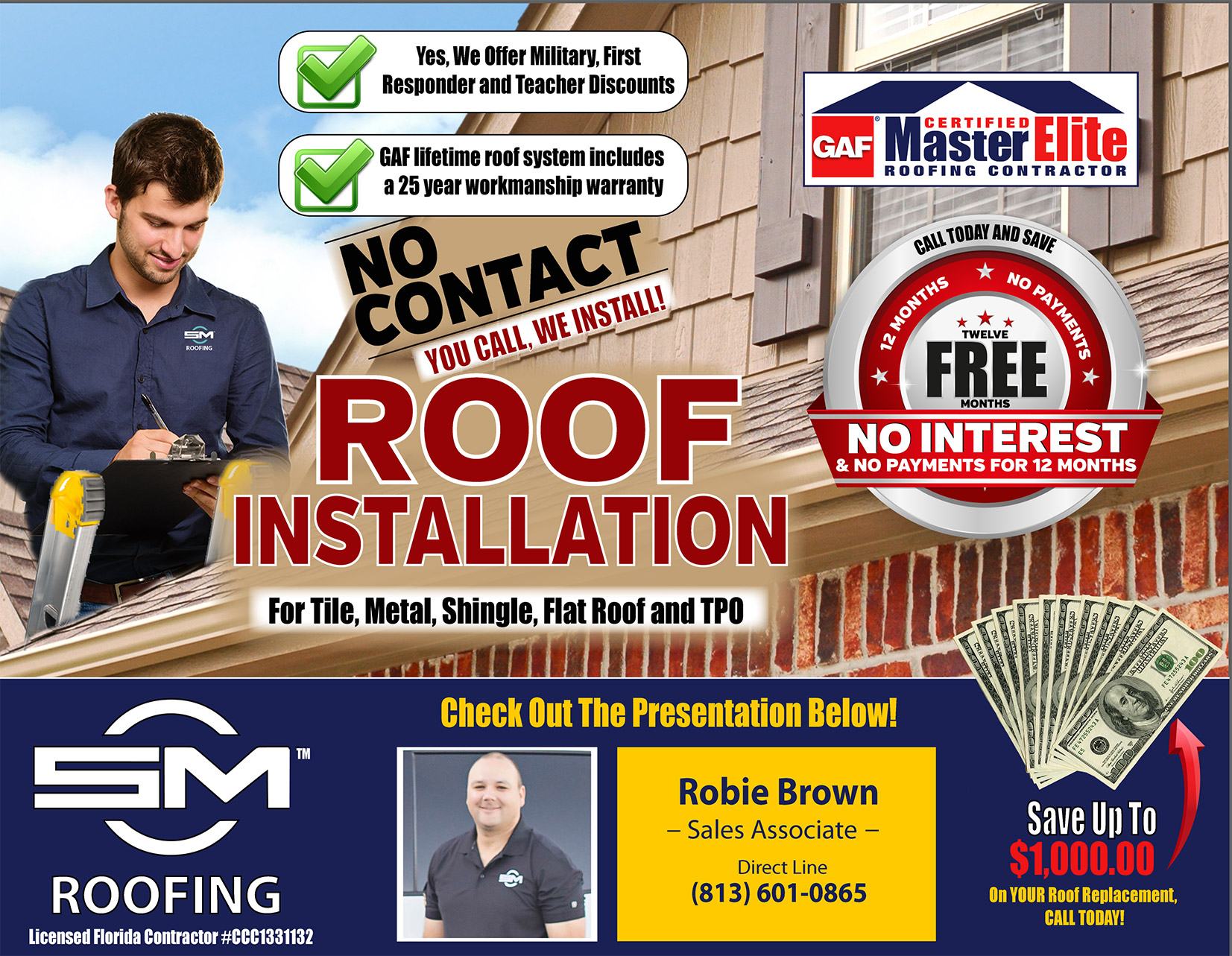 On behalf of SCM Roofing, Robbie Brown welcomes you to our online presentation page. Below is a video which will walk you through each of the important aspects of our roofing process. Thank you for visiting, let's scroll down the page and begin.